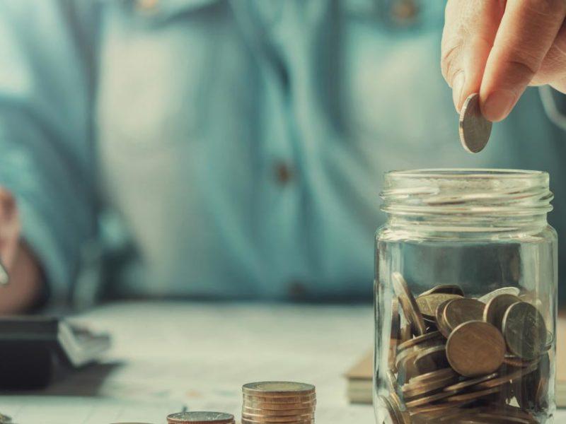 Saving coins in jar
